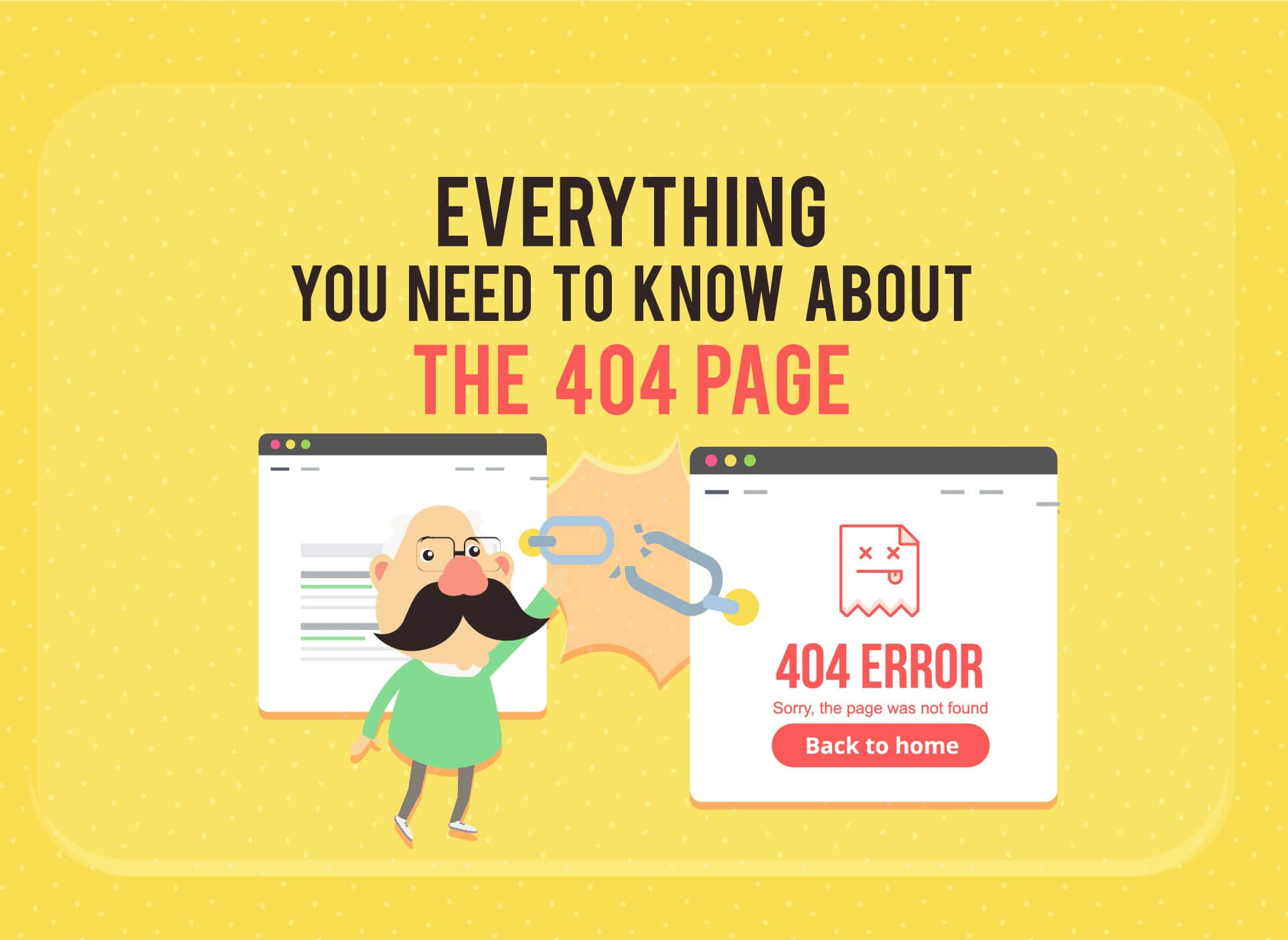 Header image for the infographic about the 404 error page